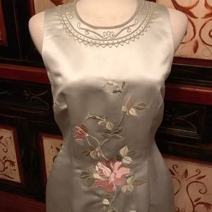 Donna Morgan classy sage green maxi dress